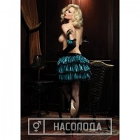 Lace trimmed striped satin bustle skirt with ribbon ties O/S BLACK/BLUE